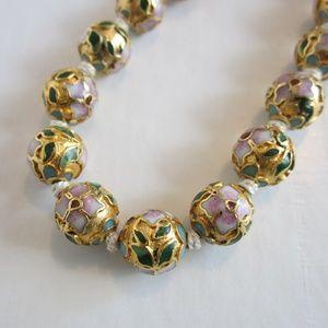 Vintage Gold Cloisonne Bead Necklace